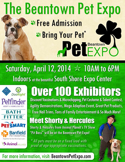 Pet World Insider Radio Segment – Boston – Beantown Pet Expo – Saturday, April 12, 2014 + Free Admission & much more